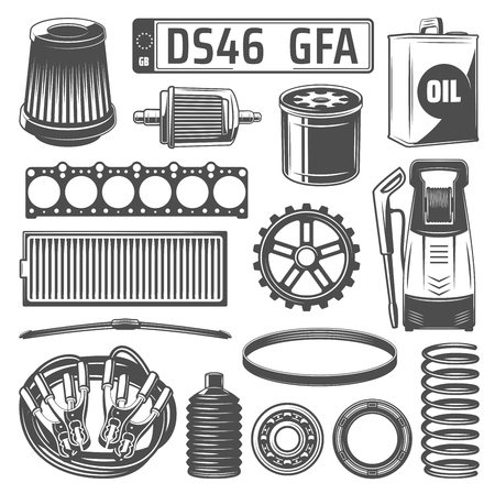 Car spare parts, oil canister and washing cleaner vector monochrome icons. Motor oil can, gear wheel, number plate, filter and cell spring, jumper cable and jack, car wash and bearings, head gasket Illusztráció