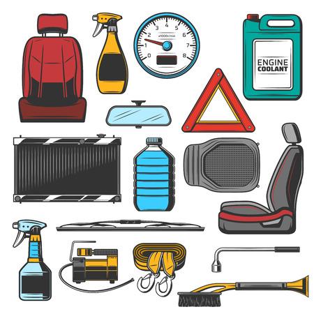 Części samochodowe i środki do szkiców konserwacji pojazdów. Fotel do salonu i lusterka, prędkościomierz i trójkątny znak, płyn chłodzący silnik i wycieraczka. Opryskiwacz, szczotka i kabel z wektorem karabinka