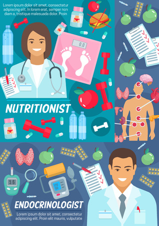 Medicine poster with nutritionist and endocrinologist. Doctors in robes, scales and dumbbells, endocrinology organs and pills, device for blood test and arterial pressure. Junk and healthy food vector
