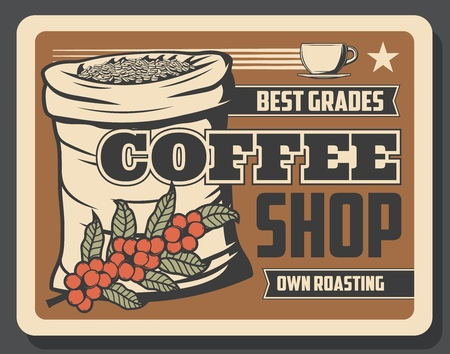 Retro coffee shop banner with sack full of beans and branch. Bar or restaurant with own roasting ingredients to prepare hot energetic beverage. Cafe with best quality drinks vintage leaflet vector  イラスト・ベクター素材