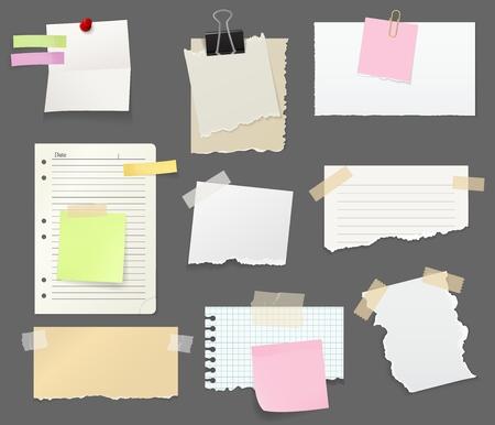 Notizen und Erinnerungen oder Papier mit Clips, Pin und Klebeband. Zerrissene Blattstücke zum Schreiben von Kurznachrichten für Büro und Arbeitsplatz. Briefpapier und Farblesezeichen mit klebrigem Seitenvektor isoliert