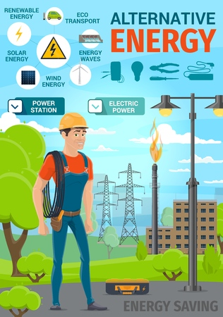 Alternative renewable energy and electric power saving poster. Vector electrician with cable and tools, solar panel or wind energy station, eco car transport with light bulb, voltmeter or ammeter Illustration