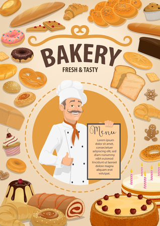 Baker with menu, bakery shop and pastry food. Vector bread and baguette, cake and roll with jam, toast and donut, pretzel and bun. Croissant and waffles, gingerbread cookie and cupcake