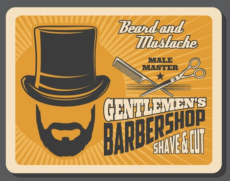 Barber shop for gentlemen retro poster. Male beard and mustache, tall hat and scissors for hairdresser, coiffeur or hipster trend hair cutter. Hairbrush comb for barbershop salon or studio vector