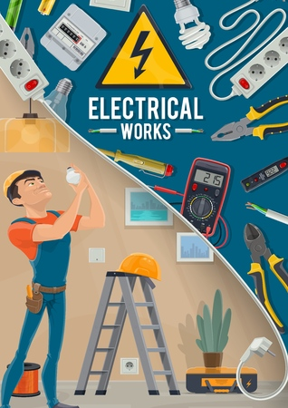 Electrician service, electrical works. Socket and pliers, ammeter and voltmeter, wire and cable, light bulb and screwdriver, battery and ladder. Electrician in apartment replacing a light bulb