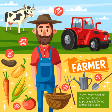 Farm poster with farmer holding basket and harvest with cow near tractor. Livestock animal and agricultural tools, spade and forks, watering can. Carrot and corn, tomato and bell pepper, potato vector Иллюстрация