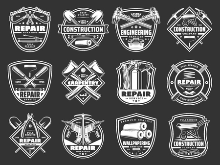 Home repair and construction tools, service and handyman workshop icons. Vector symbols of carpentry hammer, woodwork drill and plane grinder or painting brush and decor wallpapers Illustration