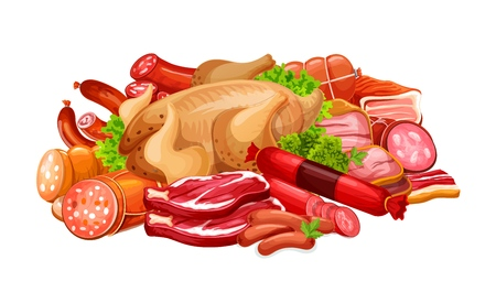 Meat products and sausages for butcher shop. Vector delicatessen of bacon, ham or pork brisket and salami with pepperoni and cervelat, sausage and frankfurter, chicken or poultry with greenery in heap Foto de archivo - 112934846