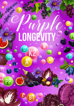 Color detox diet poster of purple day. Eggplant and cabbage, blackcurrant and lavender, grapes and date fruit and blueberry, prunes and honeysuckle. Proper nutrition for longevity vector