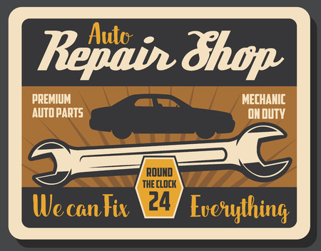 Car repair service retro poster with wrench and vehicle silhouette. Auto parts and mechanic on duty, transport maintenance and repairing vintage brochure. Garage station for automobiles vector Banque d'images - 112961465
