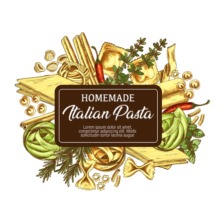 Pasta of Italy and homemade macaroni poster. Linguine and ravioli, fettuccine and pasta all uovo, tortellini and orecchiette. Spaghetti, lasagna, basil or oregano with chili pepper. Italian cuisine di
