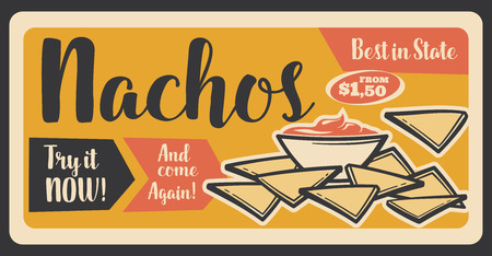 Nachos Mexican snack retro banner for fast food restaurant or cafe. Crispy corn chip and chili pepper sauce or dip, dish from Mexico. Fastfood meal with spicy ingredient by low cheap price vector Stock Illustratie