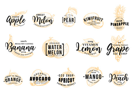 Tropical fruits icons with letterings. Apple and melon, pear and kiwi, pineapple and banana, watermelon and lemon, grape and orange. Avocado and apricot, mango and peach, organic food vector Vettoriali