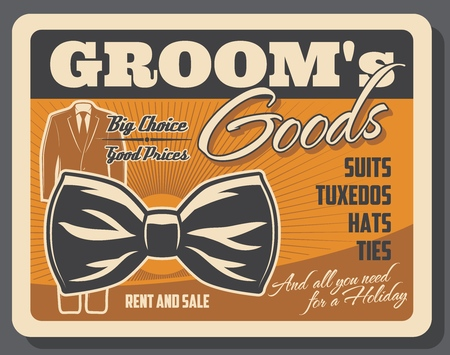 Shop with groom goods retro poster with wedding tuxedo and bowtie. Male outfit for marriage ceremony store or boutique. Suits with hats and ties, accessory for men vintage leaflet or brochure vector Çizim