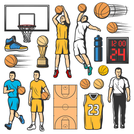 Sport basketball icons, players in uniform with leather ball and game court. Water bottle and scoreboard, shirt with number and trophy cup. Sneaker and basket, sporting items sketch vector