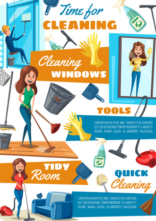 Cleaning and washing windows, housekeeping and household. Vector vacuum cleaner and mop, plunger and sprayer for glass, scoop and gloves, broom and bucket. Housewife and male window cleaner in helmet