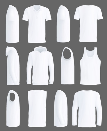 White T-shirt, shirt or tank top and sport hoodie mockup models. Isolated blank 3d realistic casual clothing or sleeveless man sportswear apparel, promo design