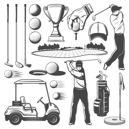Golf sport monochrome vector icons of sporting items and player. Man with club, ball and cart, game course and hole near flag, cap and trophy cup. Man and tools to play