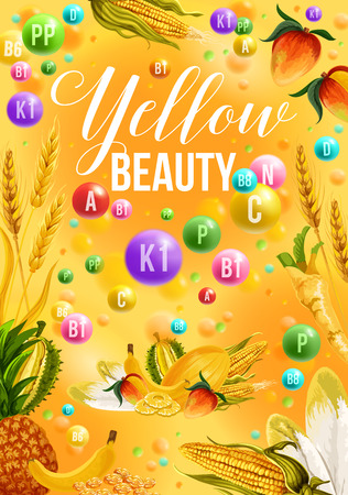 Color detox diet poster yellow food day for beauty. Corn and pineapple, banana and wheat, ginger and durian, nectarine and Chinese cabbage, cereals. Proper nutrition of fruits and vegetables vector