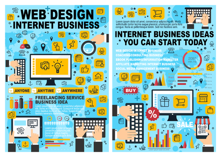 Online business, web design and development posters for Internet startup. Digital marketing and technologies infographic, shopping through computer and mobile phone, tablet chart with diagrams vector