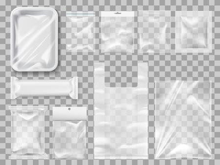Lege verpakkingen, plastic verpakkingen en vacuümcontainers mockups voor voedsel. Transparante wegwerp schoonverpakkingen voor vlees- en chocoladereep, specerijen en gebak. Transparante pakketten om goederen te vervoeren en te bewaren