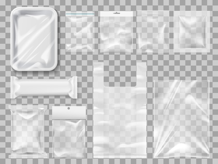Empty packs, plastic package and vacuum containers mockups for food. Transparent disposable clean packages for meat and chocolate bar, spices and pastry. Transparent packets to carry and keep goods