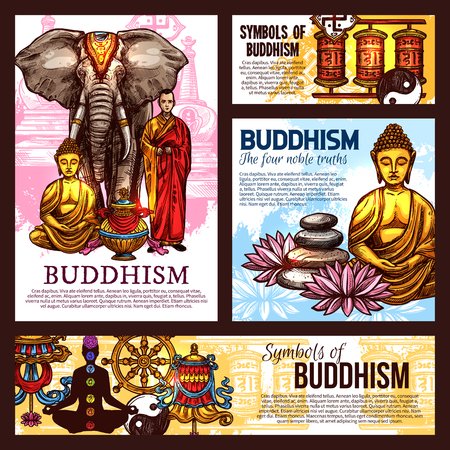 Buddhism religion design with holy symbols, vector. Monk in robe and elephant, Buddha statue and vase, lanterns and lotus flower. Pebble and chakras, fortune wheel and yin yang sign Illustration