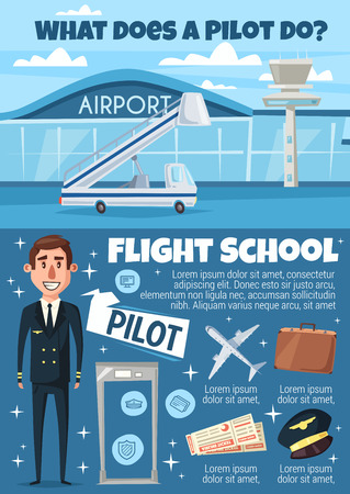 Pilot profession and flight school. Aviator in uniform and airport building, ladder and airplane, suitcase and cap, tickets and metal detector frame. Aviation and plane captain career vector
