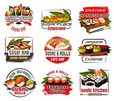 Icônes japonaises de bar à sushis et de restaurants de fruits de mer. Cuisine du Japon, nigiri et roll sushi au saumon, crevettes, thon et avocat, caviar et gingembre. Sauce soja et wasabi avec vecteur de baguettes Vecteurs