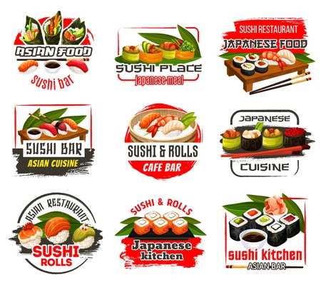 Japanese sushi bar and seafood restaurant icons. Cuisine of Japan, nigiri and roll sushi with salmon, shrimp, tuna and avocado, caviar and ginger. Soy and wasabi sauce with chopsticks vector Vettoriali
