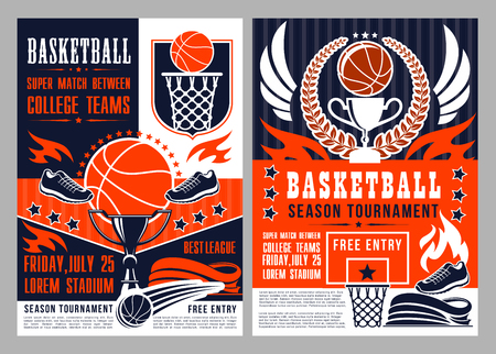 Basketball sport season tournament poster with heavy ball and trophy. Championship or competition announcement, team game invitation with sporting items, basket and prize, sneaker and flame vector Illustration