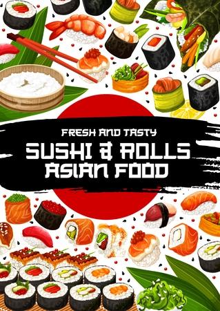 Sushi and rolls poster of Japanese cuisine. Vector seafood, salmon sashimi or eel unagi maki, shrimp tempura and rice bowl, chopsticks and caviar, banana leaves. Asian meal or dish with raw fish Illustration