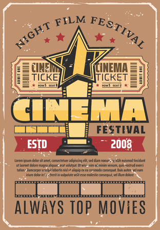 Top movies festival retro poster with gold award for achievements in cinema. Film projection event and reward for best motion picture. Cinematography competition vintage invitation or leaflet vector