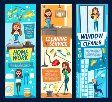 Home work or cleaning service vector banners. Man and woman cleaning windows on skyscraper, laundry washing machine and clean linen with detergent, cooking and household tools duster, rag and gloves Ilustrace