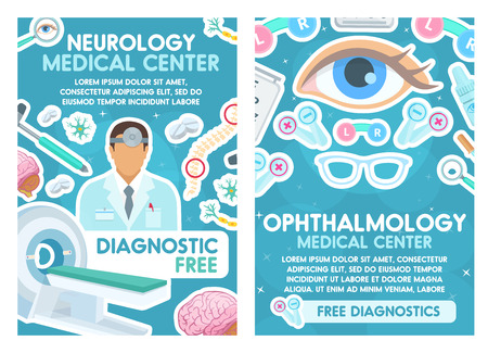 Medical posters for neurology and ophthalmology. Ophthalmologist and neurologist, eye and MRI, eyesight glasses and hammer, brain and lenses. Nerves and pills, spine and diagnostic service vector