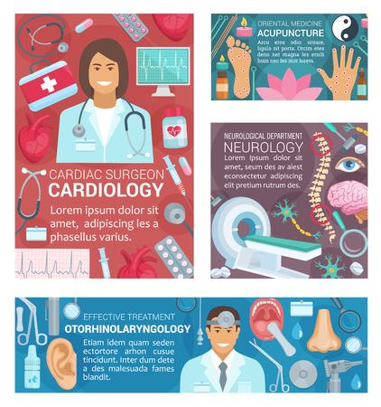 Cardiology, neurology or acupuncture and otorhinolaryngology medicine banners. Vector cardiologist, neurologist or otolaryngology doctors and medical pills or tools for examination and treatment