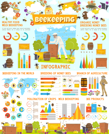Beekeeping vector infographic, honey production statistics on world map. Chart, graph and diagram with honey bee, beehive and honeycomb. Beekeeper at apiary, barrels or jars, tools of apiculture