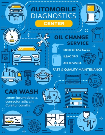 Infographic of car diagnostics and garage station service. Vector vehicle and fuel on line art poster for oil change and car wash. Transport repairing and maintenance, auto parts and mechanical tools