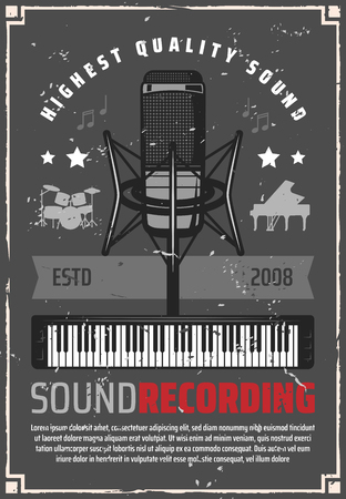 Music studio for sound recording retro poster. Microphone and synthesizer, drum and piano silhouettes on shabby vintage leaflet. Song or melody record, album production and musical instruments vector