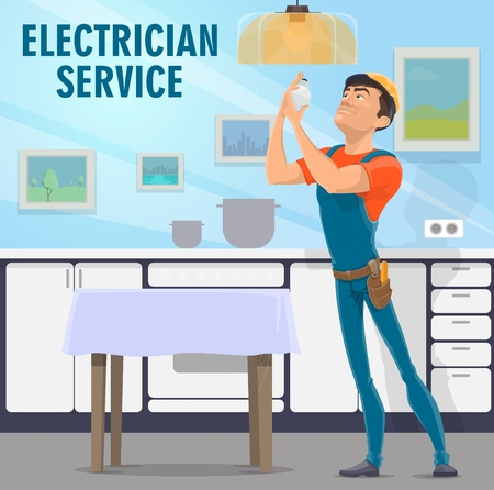 Electricity works poster for electrician service and light bulbs replacement. Handyman or repairman at kitchen fixing lamp, man in overalls and helmet. Interior wiring repair and maintenance vector Illustration