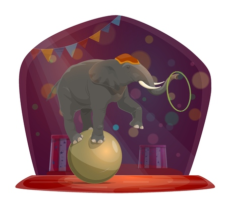 Chapiteau circus, elephant on ball holding hoop with trunk. Vector show on stage, arena in glimmer shine, trained animal, trick or performance. Family entertainment or amusement, wild mammal Illusztráció