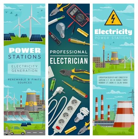 Centrales eléctricas de energía nuclear y ecológica para la generación de electricidad. Molinos de viento y baterías solares, represas de agua y plantas nucleares. Herramientas de electricista, alicates y destornillador, alambre y zócalo.