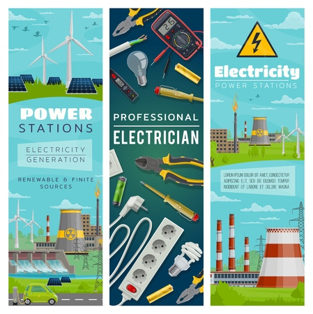 Power stations of nuclear and eco energy for electricity generation. Wind mills and solar batteries, water dams and nuclear plants. Electrician tools, pliers and screwdriver, wire and socket vector Standard-Bild - 112961428