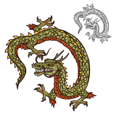 Dragon with three-toed claws Japanese tattoo design or religion mascot. Mythical beast with scales and horns, whiskers and tail. Oriental culture legendary creature or monster vector isolated Фото со стока - 112961432
