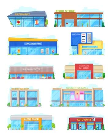 Bâtiments de la ville de supermarché et d'alimentation ou d'épicerie. Électronique ou appareils et matériel, parfumerie avec centre commercial de cosmétiques et pièces automobiles. Bâtiments urbains pour vecteur de shopping isolé