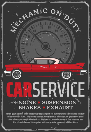 Car repair service of engine, suspension brakes, gearbox and exhaust. Brake pad replacement retro style poster. Garage or workshop with mechanic on duty, maintenance and diagnostics of auto transport Illustration