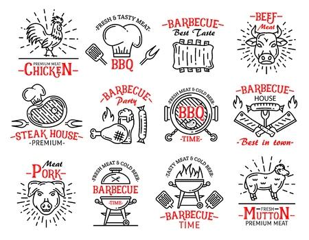 Icônes et signes de barbecue dans le style d'art en ligne. Produits carnés poulet et bœuf, steak et saucisse, porc et mouton. Symboles de steak house barbecue, chapeau de boucher et machine à griller ensemble vectoriel isolé