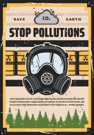 Ecology, stop pollution, environmental problem. Vector contamination, litter and rubbish, toxic substance barrels and mask, protection. Ecosystem damage, global disaster, save Earth, green forest