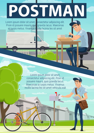 Post office and mail delivery poster with postman at work. Parcels or letters sorting and shipping by van or bicycle. mailman in uniform putting letter in mailbox and stamping envelope vector