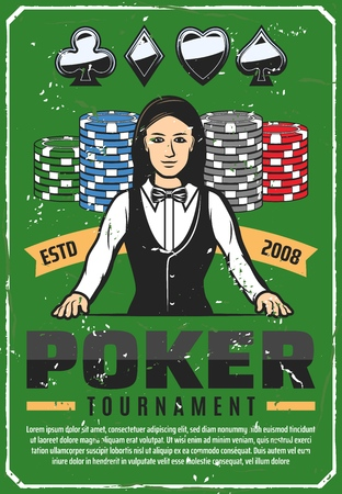 Casino retro poster for poker tournament. Female croupier in vest and bow, chips for stakes and cards suits. Gambling competition or championship announcement vintage brochure or invitation vector